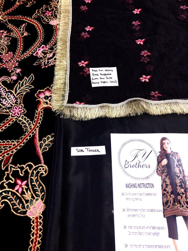 Baroque Velvet Embroidery Suit Net Embroidery Dupatta