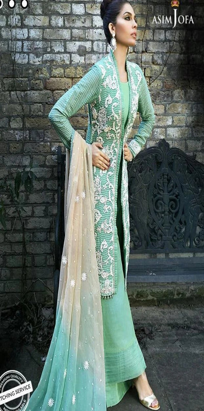 Asim Jofa Chiffon Embroidery Suit Net Embroidered Duppata