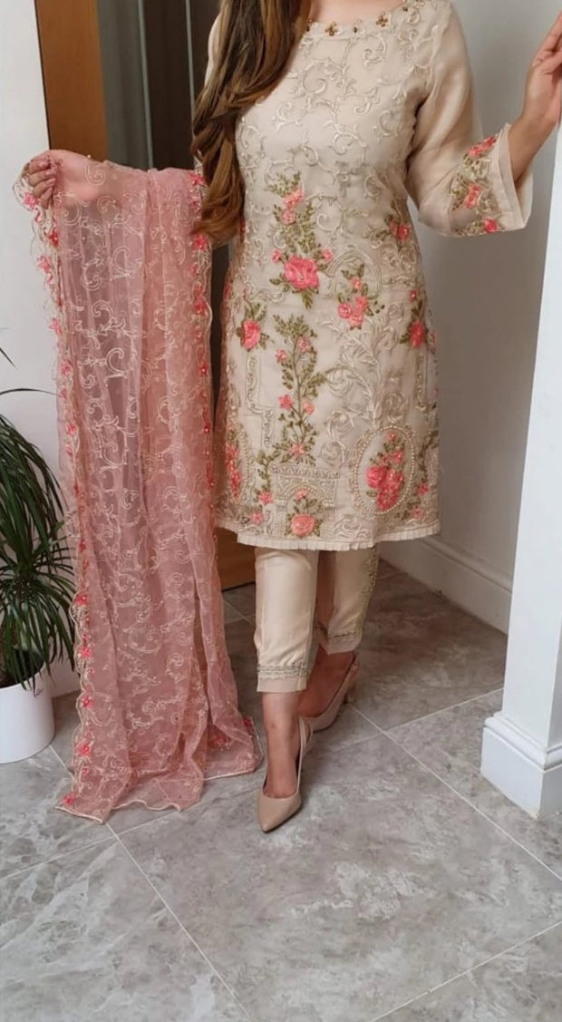 Agha Noor Chiffon Embroidery Suit Chiffon Embroidered Dupatta