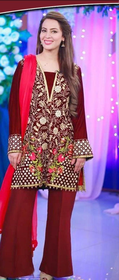 Maria B Chiffon Embroidery Suit Chiffon Embroidered Duppata