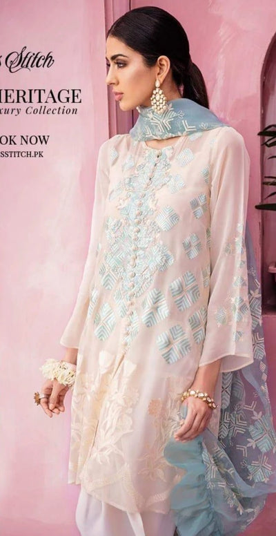 Maria B Chiffon Embroidery Suit Organza Embroidered Duppata