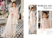 Afrozeh now available. Design no 1239.  Fabric details: Semi pure chiffon shirt. Net dupatta. Malai crape trouser. Organza borders for front, back. Organza border for trouser.