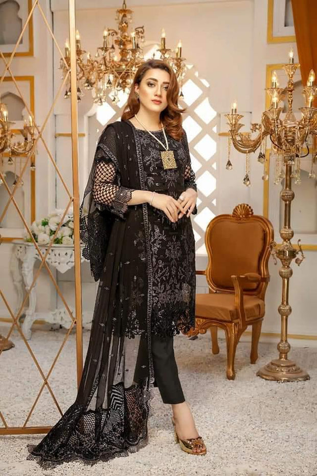 Laavish now available. Design no 1236.  Fabric details:  Semi pure chiffon shirt. Semi pure chiffon dupatta. Malai trouser. Organza border for front back.