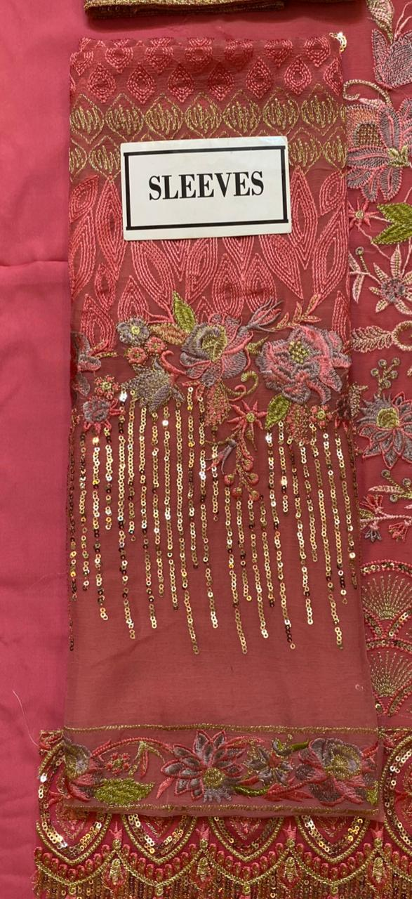 Afrozeh now available. Design no 1242.  Fabric details:  Semi pure chiffon shirt. Semi pure chiffon dupatta. Malai trouser. Organza border for front back. Organza border for trouser.