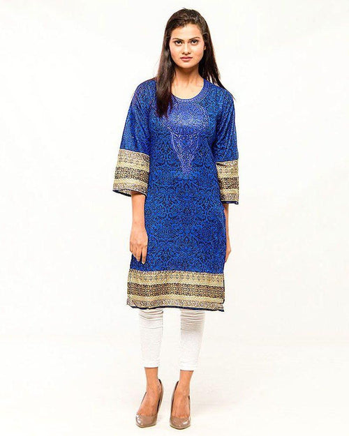 Women Embroidered Stitched Kurti - VK – 15 - Kurti - diKHAWA Online Shopping in Pakistan