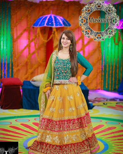 Zaheer Abbas Mayo Bridal Lehnga With Heavy Embroidered Sequence Applique Dupatta (Replica)(Unstitched)