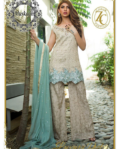 Zainab Chottani Bridal Chiffon Collection With Embroidered Sequence Net Dupatta (Replica)(Unstitched)