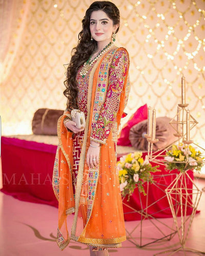 Zainab Chottani Bridal Suit With Chiffon Embroidered Dupatta (Replica)(Unstitched)