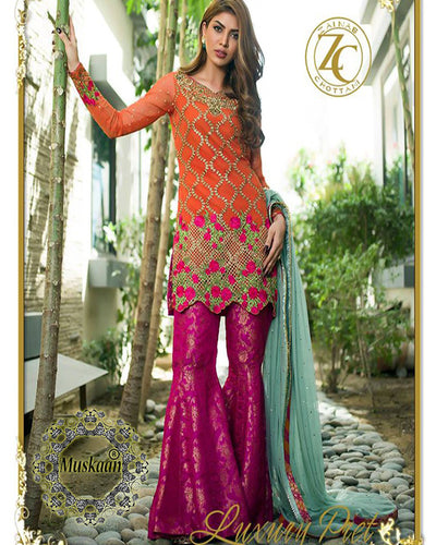 Zainab Chottani Chiffon Collection With Embroidered Sequence Net Dupatta (Replica)(Unstitched)