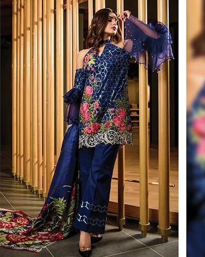 Zara Shah Jahan Embroidered Suit With Embroidered Sequins Net Dupatta (Replica)(Unstitched)