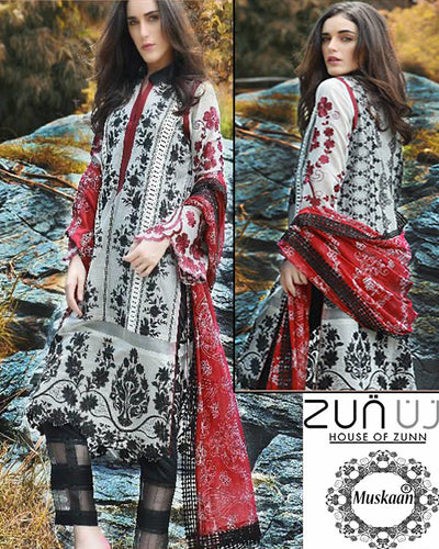 Zunuj International Luxury Chiffon Collection With Heavy Embroidered Dupatta (Replica)(Unstitched)