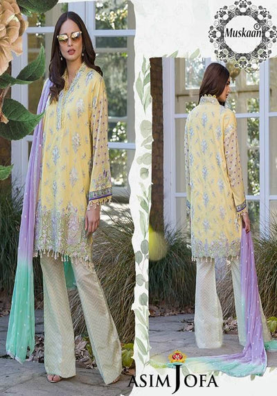 Asim Jofa Collection Embroidered Front Fabric Lawn Net Dupatta Cambric Cotton Trouser - Replica - Unstitched