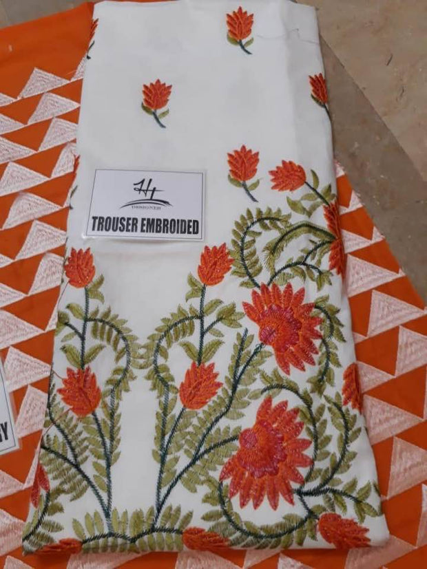 Khaadi Fabri Lawn Heavy Embroidry Front & Daman Embroidry Patch - Replica - Unstitched