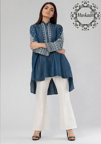 Khaddi Peplum Style Fabric Denim Kurti - Replica - Unstitched