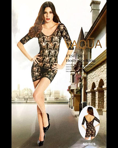 Vaqua Body Stocking Fishnet Dress - Ladies Sexy Net Dresses - 8976