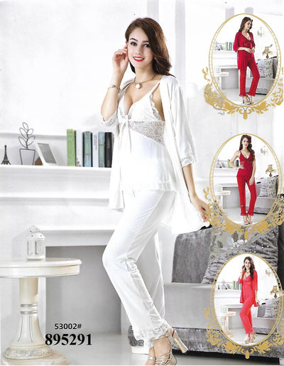 3 Pcs Slik Ladies Nightwear - White