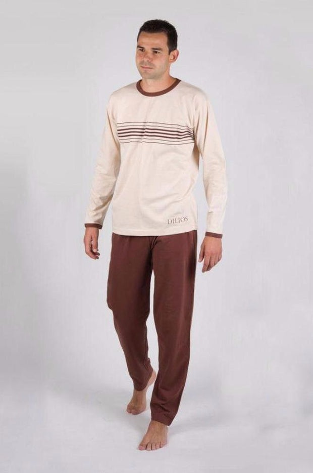 Dilios Branded T-Shirt & Trouser For Men's-Brown & Skin Combo Pack - Mens Nightdress - diKHAWA Online Shopping in Pakistan