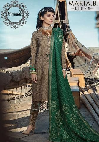 Maria B Cambric Dresses - Embroidered Bamber Dupatta  - Replica - Unstitched