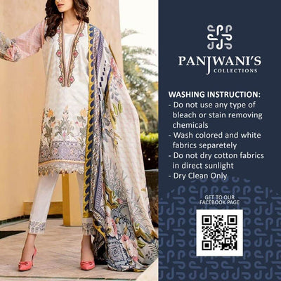 Barouqa Lawn Collection Printed Lawn Front With Heavy Daman Embroidered Boarder - Replica - Unstitched