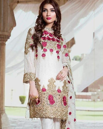 Royal Chiffon Dresses - Embroidered Chiffon Dupatta - Replica - Unstitched