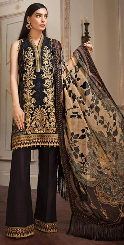 Anaya Printed Lawn Front Back & Sleeves With Chiffon Dupatta - Replica - Unstitched
