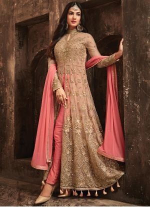 Indian Net Dresses - Embroidered Net Dupatta - Replica - Unstitched
