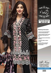Anaya Collection Embroidered Chiffon Front & Silk Trouser & Digital Printed Silk Dupatta - Replica - Unstitched