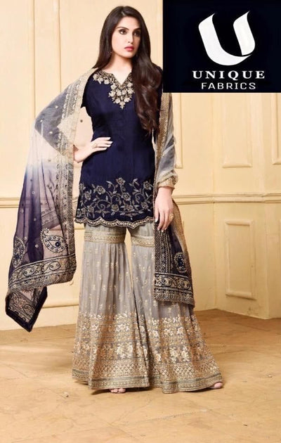 Indian Chiffon Dresses - Embroidered Net Dupatta - Replica - Unstitched