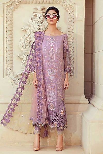 Maria B Lawn Dresses - Embroidered Net Dupatta - Replica - Unstitched