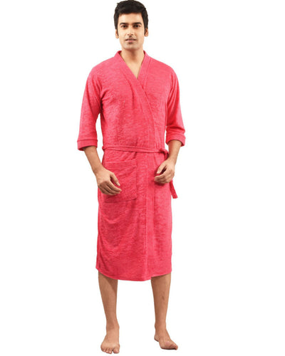Mens Bathrobe Soft Cotton - Hot Pink
