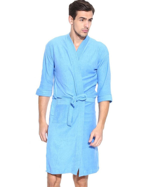 Mens Bathrobe Soft Cotton - Sky Blue