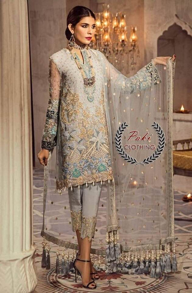 Anaya Collection Front Net Heavy Embroidery With Hand Made Daman Neck embroidered - Replica - Unstitched