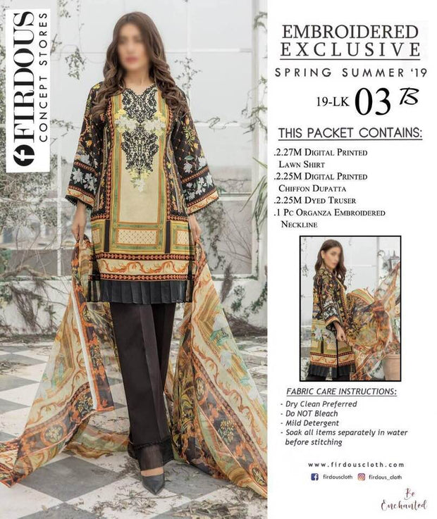 Firdous Collection Fabric Pure Lawn Same As Original Fabric - Replica - Unstitched