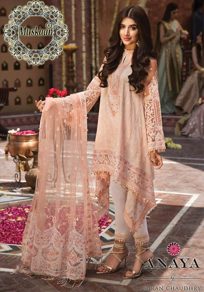 Anaya Aarzoo Collection Embroidered Seq Front Fabric Lawn Net Dupatta Trouser Cambric Cotton - Replica - Unstitched