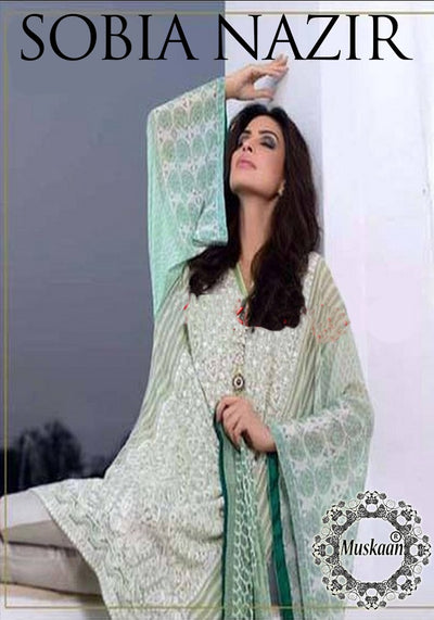 Sobia Nazir Luxury Collection Shirt & Dupatta Chiffon Soft Malai Trouser - Replica - Unstitched