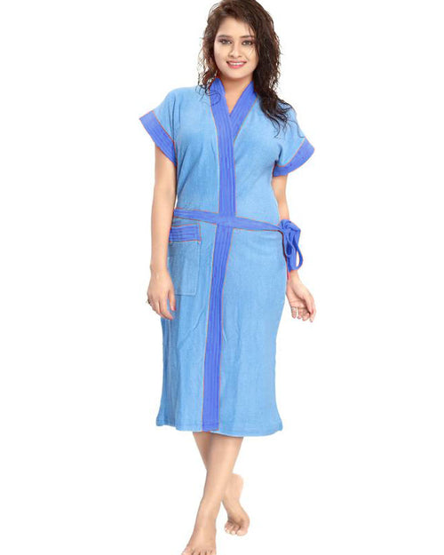 Ladies Bathrobe Soft Cotton - Light Blue