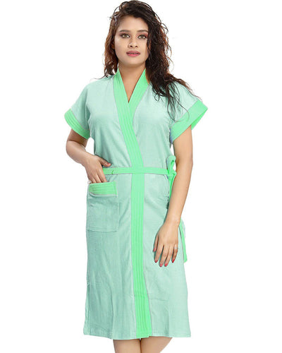 Ladies Bathrobe Soft Cotton - Green