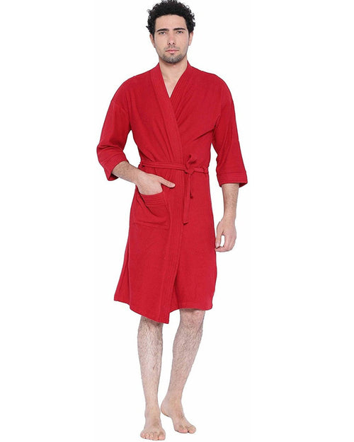 Mens Bathrobe Soft Cotton - Red