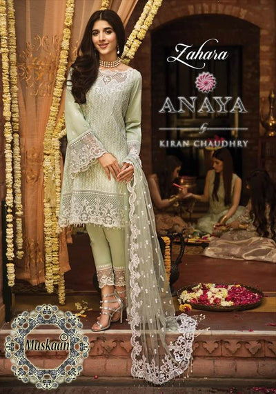 Anaya Aarzoo Collection Embroidered Seq Front Fabric Lawn Net Dupatta Cambric Cotton Trouser - Replica - Unstitched