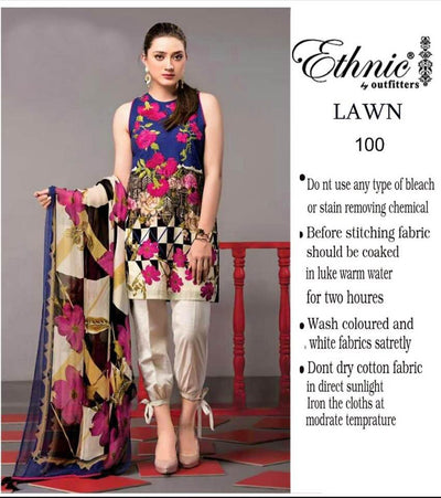 Ethnic Lawn With Chiffon Dupatta - Replica - Unstitched