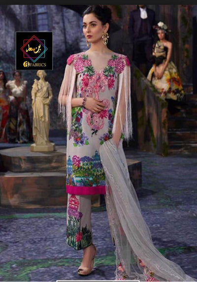 Asifa Nabeel Collection Lawn Fabric Pure Lawn Silk & Cotton - Replica - Unstitched