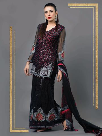 Panache(BLACK ROSE) Article Now Available Under Brand Name MINHA With With Precious Handwork And Following Specs:-Collection(Replica)(Unstitched)