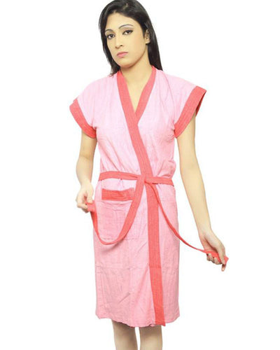 Ladies Bathrobe Soft Cotton - Peach