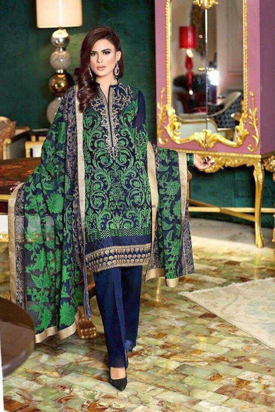 Gul Ahmed Collection Cotton Suit Chiffon Dupatta Plain Trouser - Replica - Unstitched