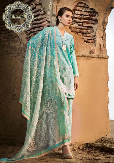 Gul Ahmed Lawn Collection Net Dupatta Cambric Cotton Trouser - Replica - Unstitched