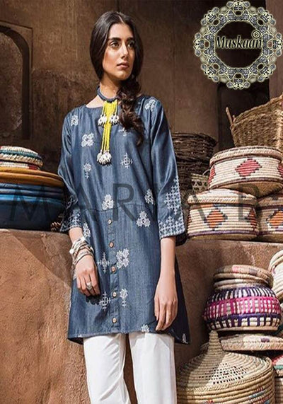 Khaadi Collection Kurti Fabric Denim - Replica - Unstitched