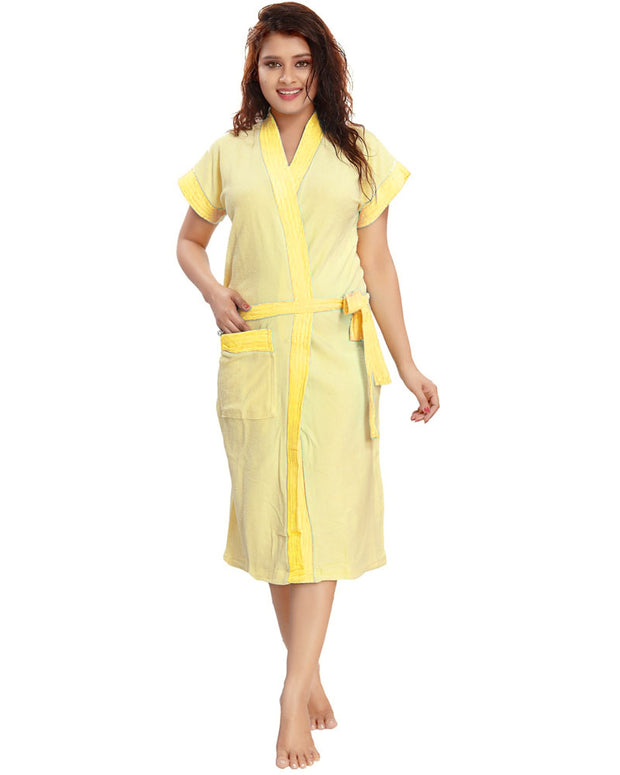 Ladies Bathrobe Soft Cotton - Yellow