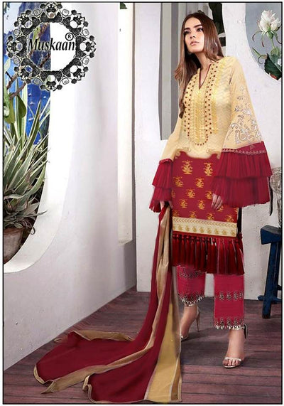 Sana Safinaz Muzlin Fabric Lawn Chiffon Dupatta Cambric Cotton Trouser - Replica - Unstitched