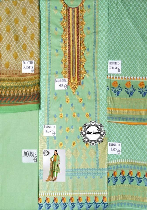 Khaadi Collection Fabric Lawn Chiffon Dupatta Cambric Cotton Trouser - Replica - Unstitched