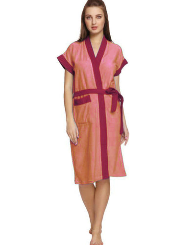 Ladies Bathrobe Soft Cotton - Orange